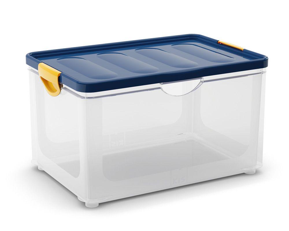KIS Úložný box - Clipper Box XL průhledný-modré víko 60l