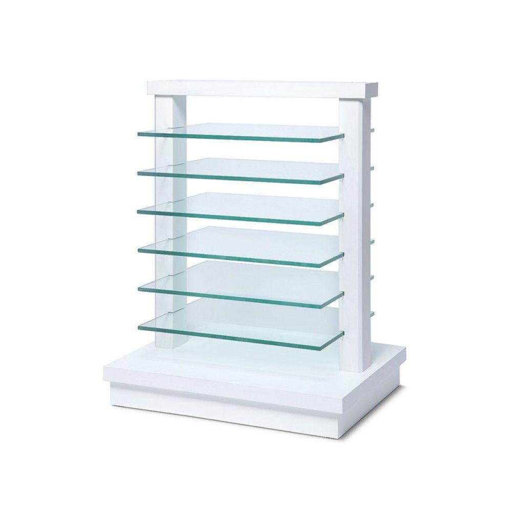Dřevěný stojan se skleněnými policemi - Bílý A-Z Reklama CZ