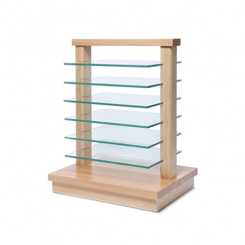 Dřevěný stojan se skleněnými policemi - Světle hnědý A-Z Reklama CZ