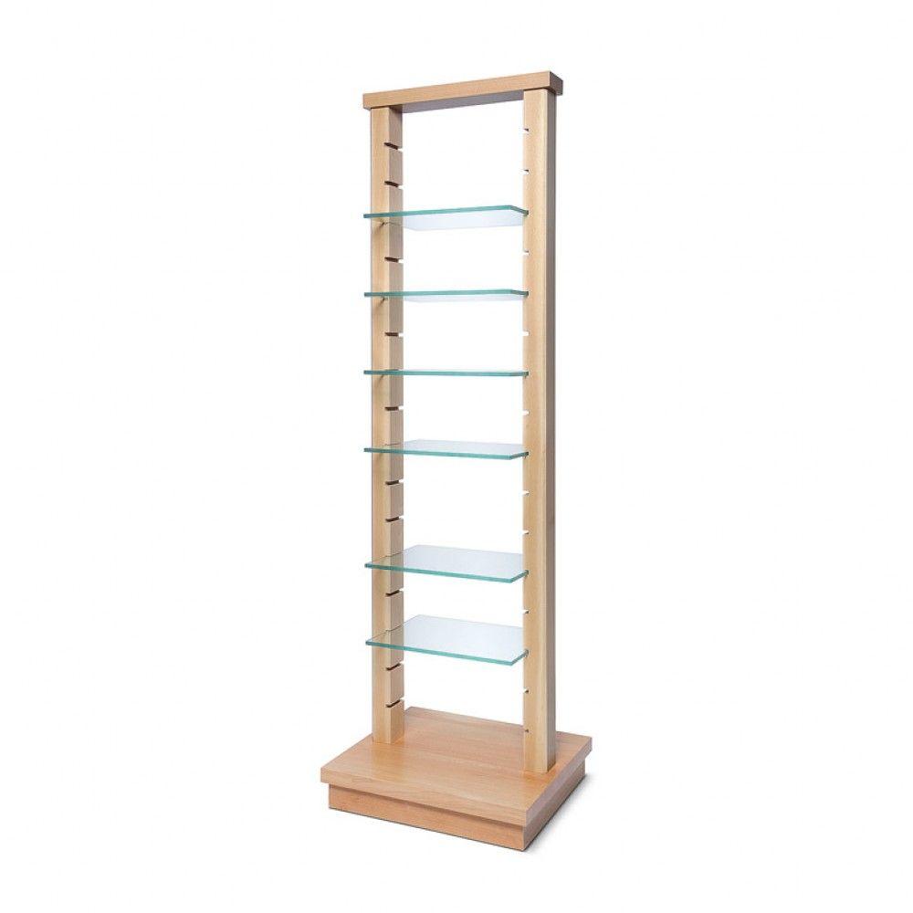 Vysoký dřevěný stojan se skleněnými policemi - Sv. hnědý A-Z Reklama CZ