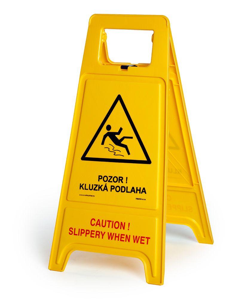 Výstražný stojan - tabule - Pozor! Kluzká podlaha