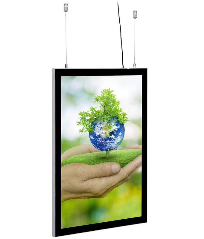 Tenký světelný rám Magneco Ledbox Double A2 - Černý A-Z Reklama CZ