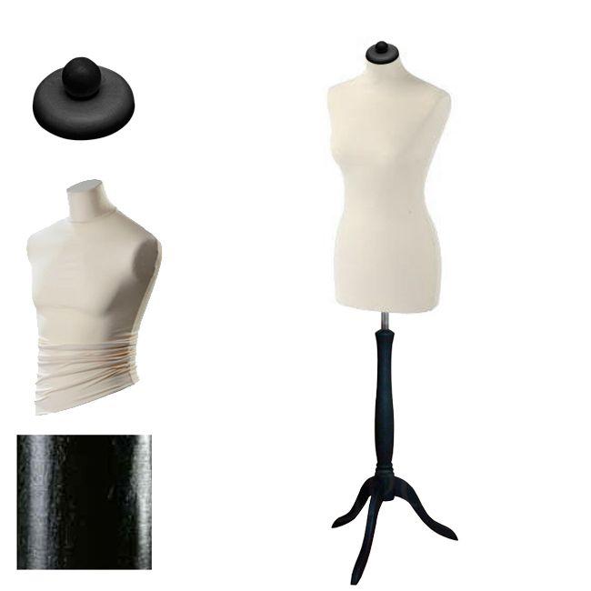 Dámská krejčovská panna velikost 40-42 - krémový potah, černý stojan trojnožka