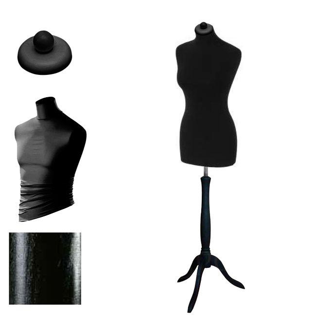 Dámská krejčovská panna velikost 44-46 - černý potah, černý stojan trojnožka