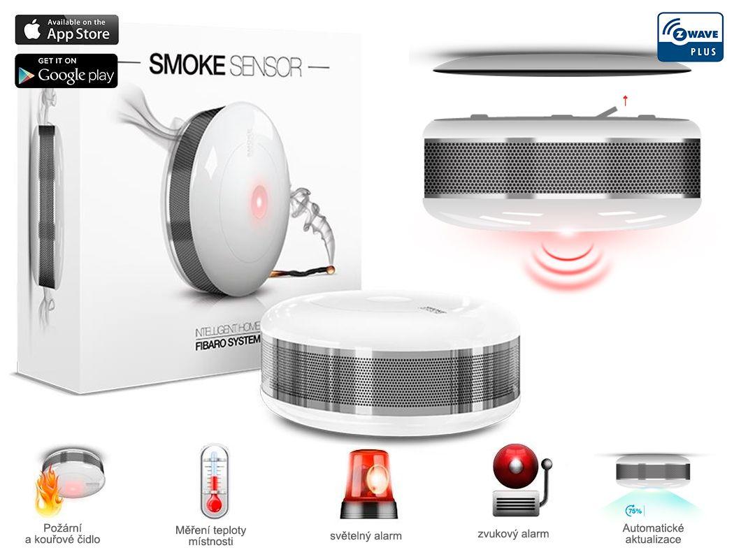 Fibaro Bateriový detektor kouře, Z-Wave Plus