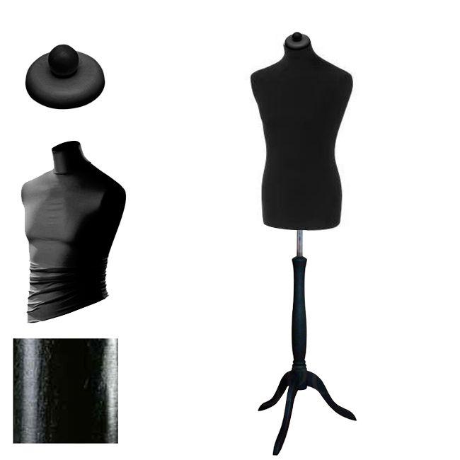 Pánská krejčovská panna - černý potah, černý stojan trojnožka