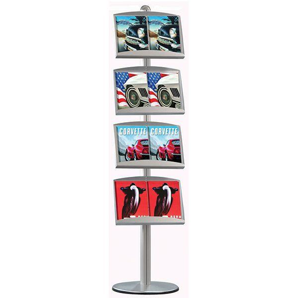 Stojan Freestand - 4x plechová kapsa na letáky 8xA4 A-Z Reklama CZ