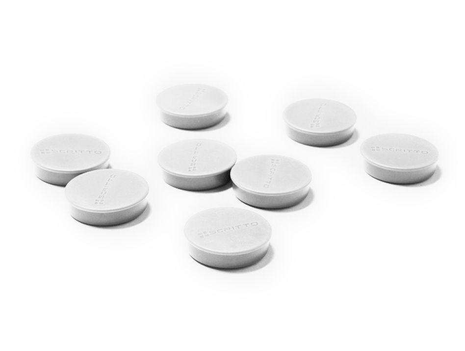 Sada 8ks magnetů na nástěnky a vitríny SCRITTO průměr 35mm Bílé barvy A-Z Reklama CZ