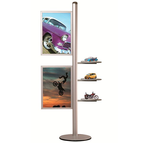 Stojan Freestand - 2x Slide-in rám na A2 a 3 kulaté poličky