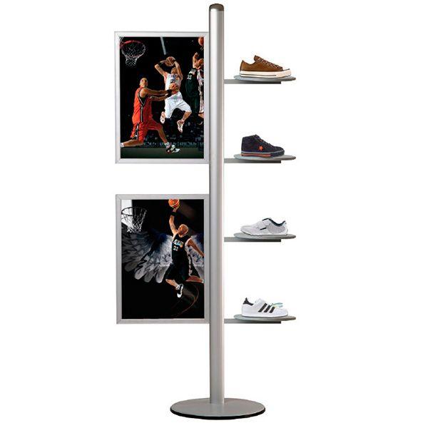 Stojan Freestand - 2x Slide-in rám na A2 a 4 kulaté poličky
