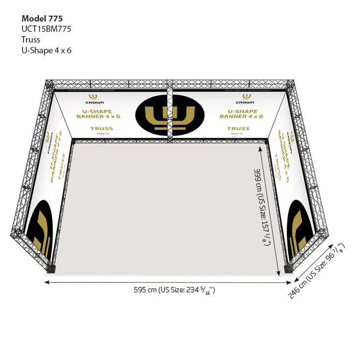 Crown truss Model 775 - tvar U 4x6 - Černá sestava
