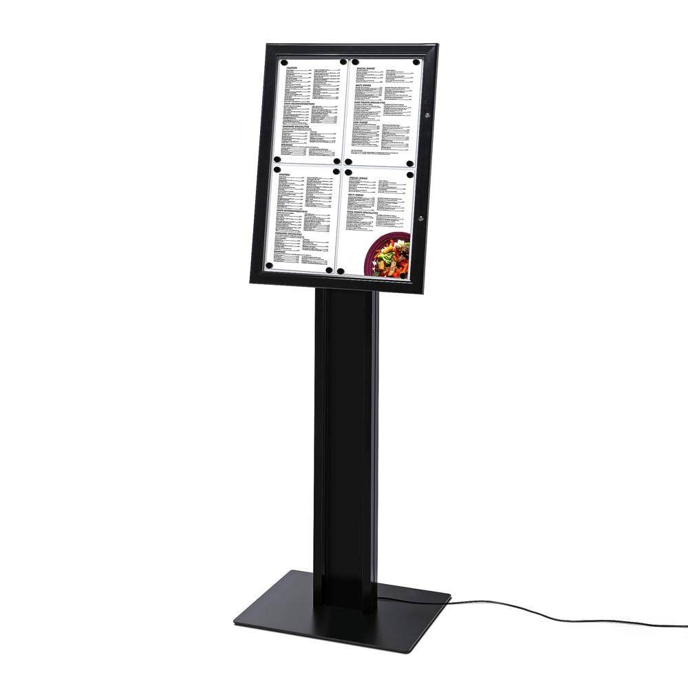 Černá světelná stojící vitrínka na restaurační menu 4xA4 A-Z Reklama CZ