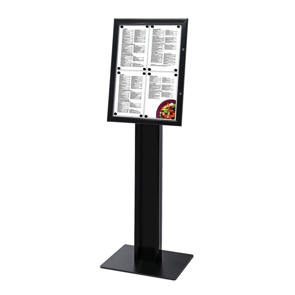 Černá volně stojící vitrínka na restaurační menu 4xA4 A-Z Reklama CZ