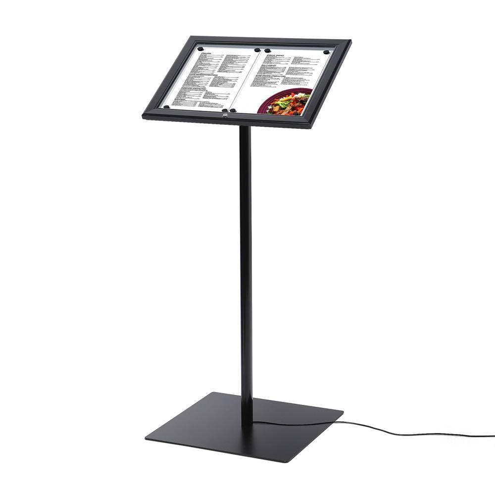 Černý Menuboard s osvětlenou vitrínkou na 2xA4 listy A-Z Reklama CZ