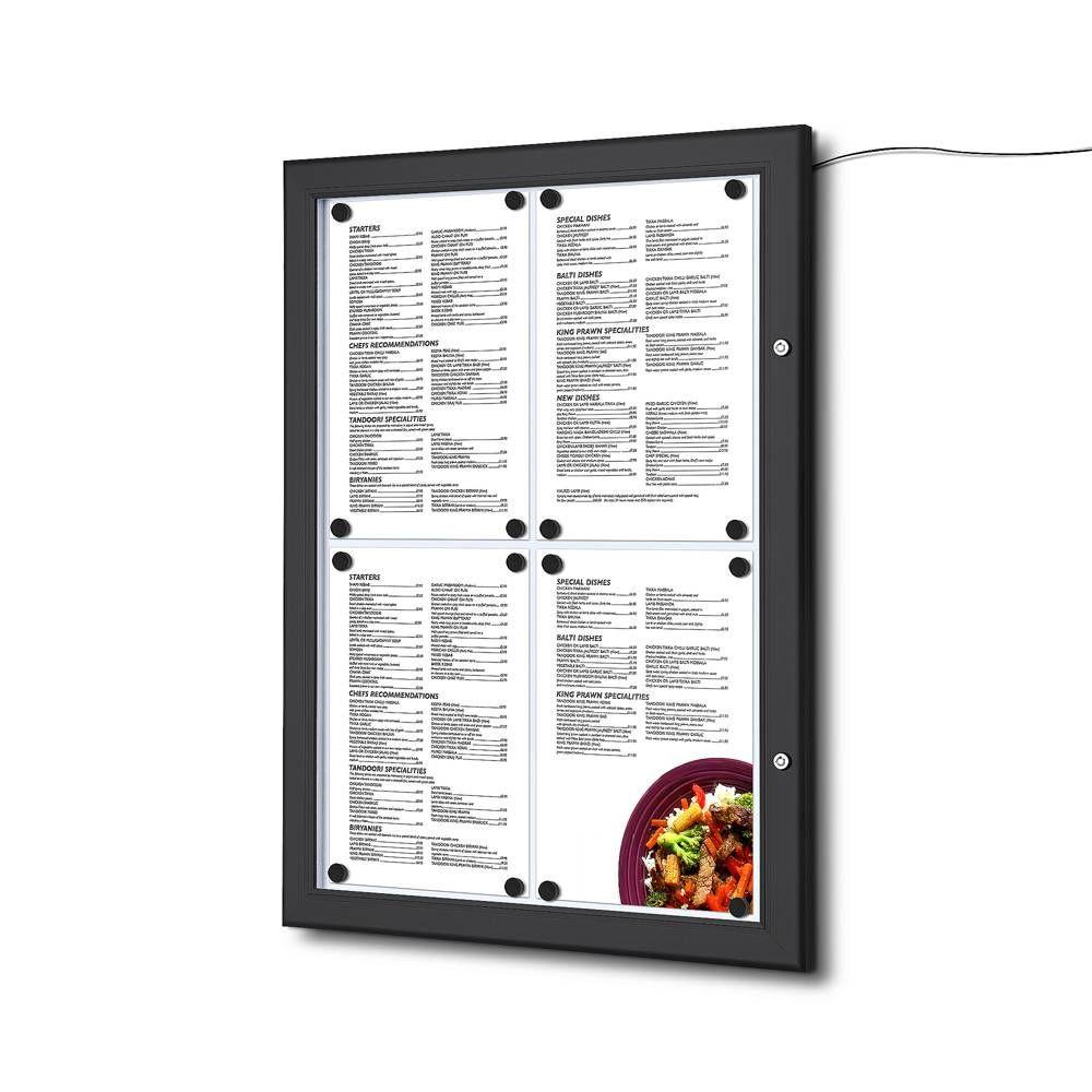 Světelná Černá Menu vitrína na stěnu pro 4xA4 listy A-Z Reklama CZ