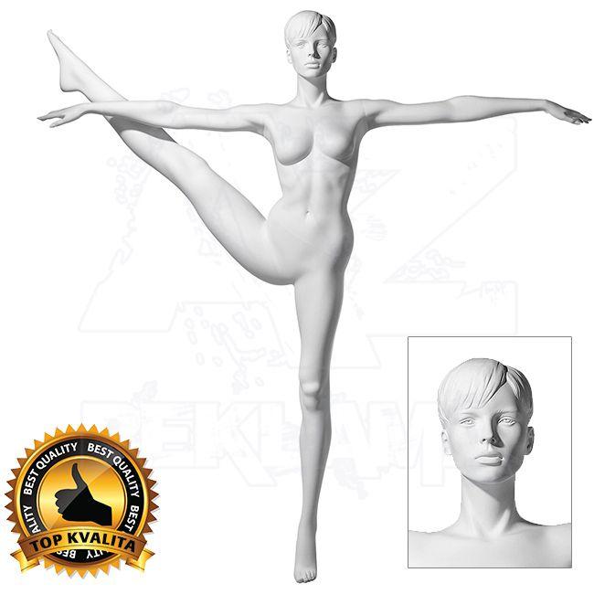 Dámská figurína Sport Atletka 2 s prolisovanými vlasy - Bílá A-Z Reklama CZ