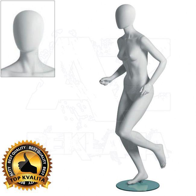 Dámská figurína Sport Běžkyně s abstraktní hlavou - Bílá A-Z Reklama CZ