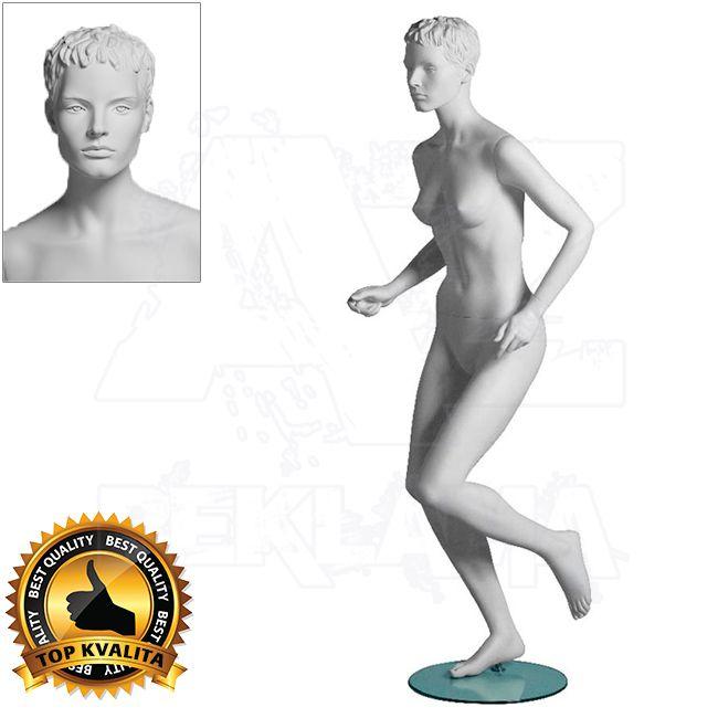 Dámská figurína Sport Běžkyně s prolisovanými vlasy - Bílá A-Z Reklama CZ