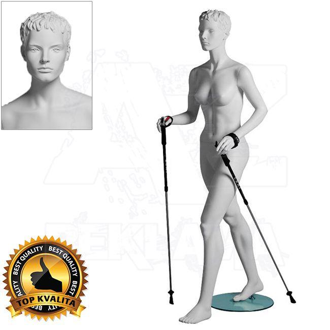 Dámská figurína Sport Chodkyně s prolisovanými vlasy - Bílá A-Z Reklama CZ