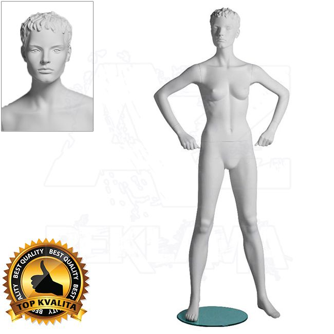 Dámská figurína Sport Fitness s prolisovanými vlasy - Bílá A-Z Reklama CZ