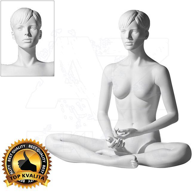 Dámská figurína Sport Meditující 1 s prolisovanými vlasy - Bílá A-Z Reklama CZ