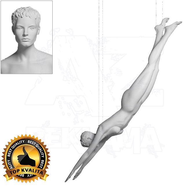 Dámská figurína Sport Plavkyně s prolisovanými vlasy - Bílá A-Z Reklama CZ