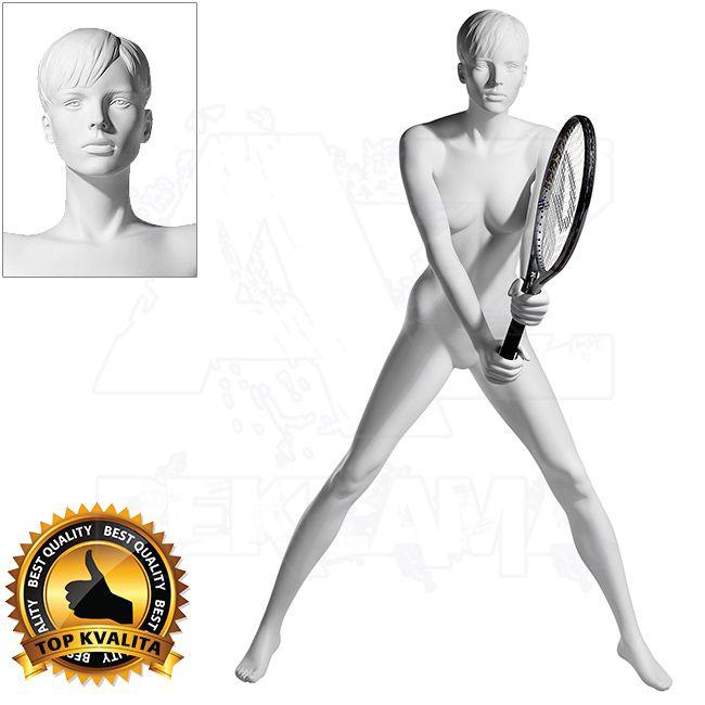 Dámská figurína Sport Tenistka 2 s prolisovanými vlasy - Bílá A-Z Reklama CZ