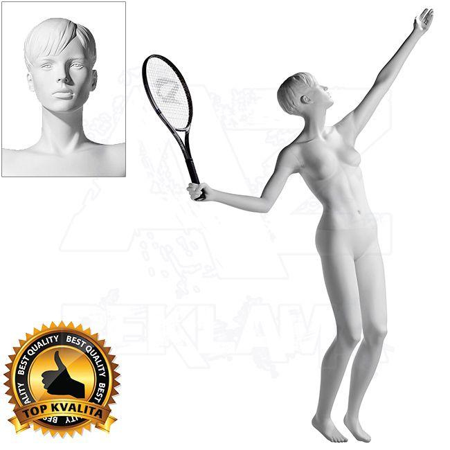 Dámská figurína Sport Tenistka 3 s prolisovanými vlasy - Bílá A-Z Reklama CZ