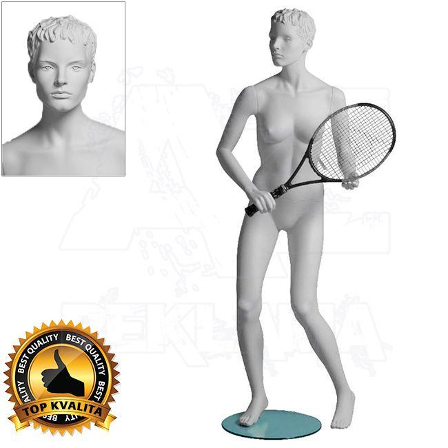 Dámská figurína Sport Tenistka s prolisovanými vlasy - Bílá A-Z Reklama CZ
