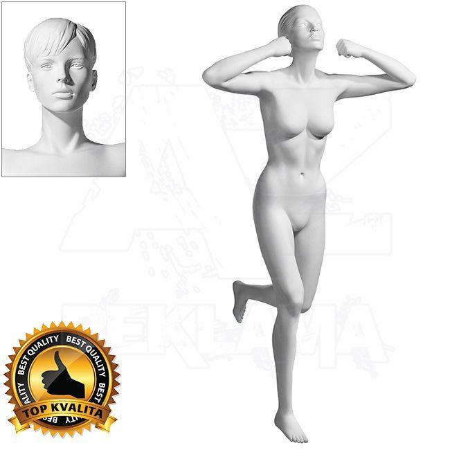 Dámská figurína Sport Vítězka 1 s prolisovanými vlasy - Bílá A-Z Reklama CZ