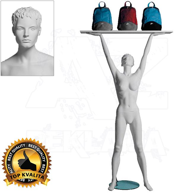 Dámská figurína Sport Zvedající s prolisovanými vlasy - Bílá A-Z Reklama CZ