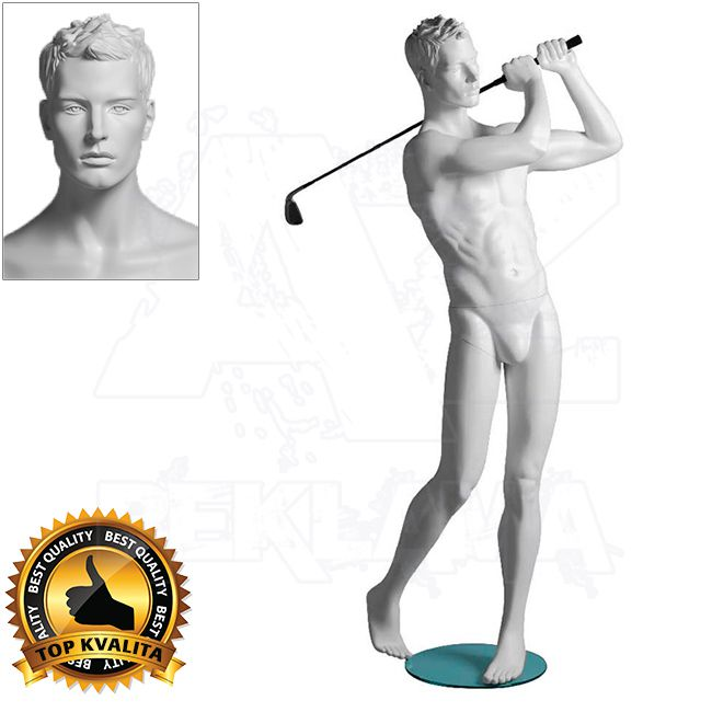Pánská figurína Sport Golfista s prolisovanými vlasy - Bílá