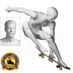 Pánská figurína Sport Skateboard - Bílá