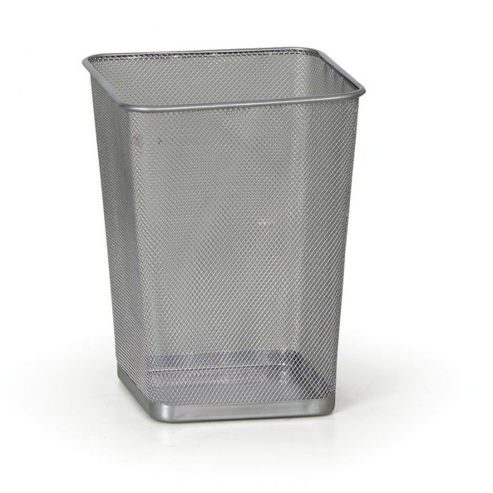 Drátěný odpadkový koš na papíry, 12 litrů, stříbrný