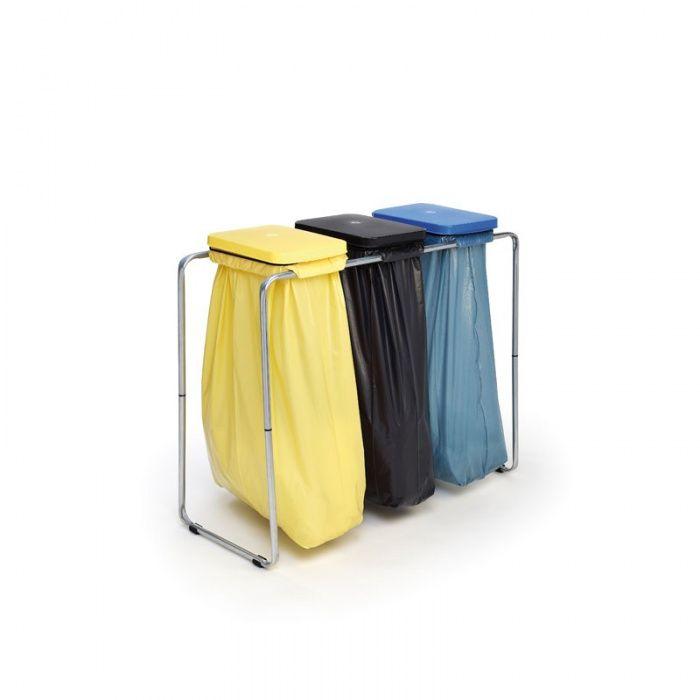 Přenosný stojící stojan na tři odpadkové pytle 70/120l