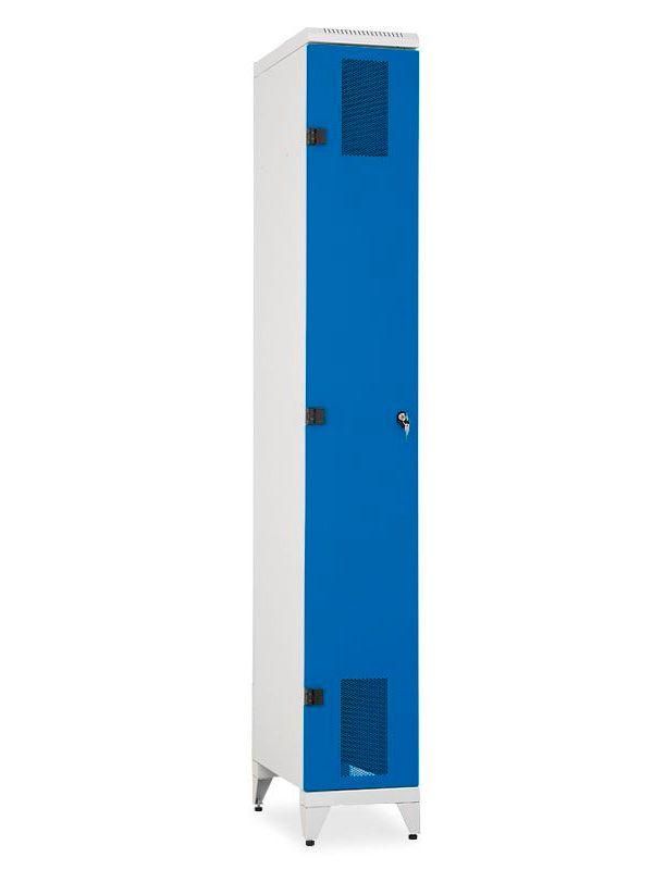Skříň na lyže a snowboardy Kov, 2155x320x600 mm, Šedá konstrukce, dveře Modré