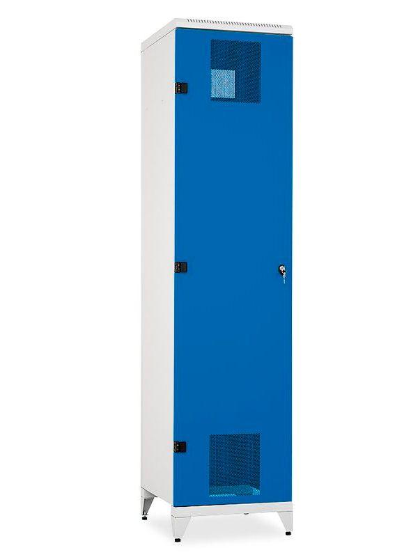 Skříň na lyže a snowboardy Kov, 2155x520x600 mm, Šedá konstrukce, dveře Modré