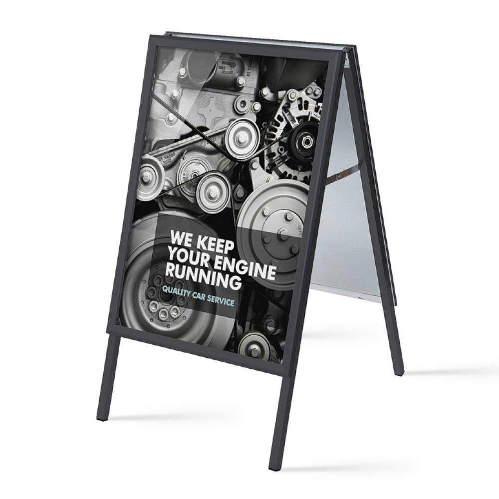 Reklamní stojan Áčko na plakáty B2 50x70 - ostrý roh - Černé A-Z Reklama CZ