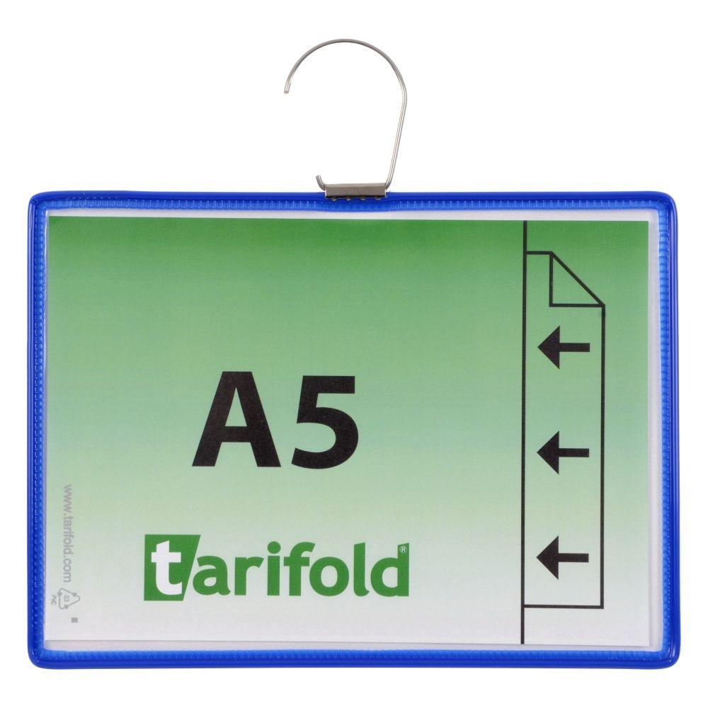 Závěsná kapsa Tarifold s hákem A5 na šířku, modré - 5 ks