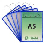 Závěsná kapsa Tarifold s hákem A5 na výšku, modré - 5 ks