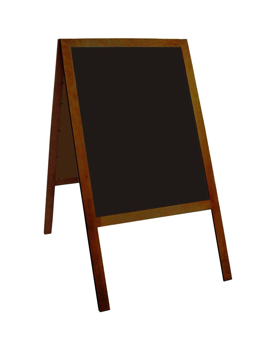 A-stojan oboustranný, křídová tabule černá, 120x60 cm, dřevěný rám, hnědý
