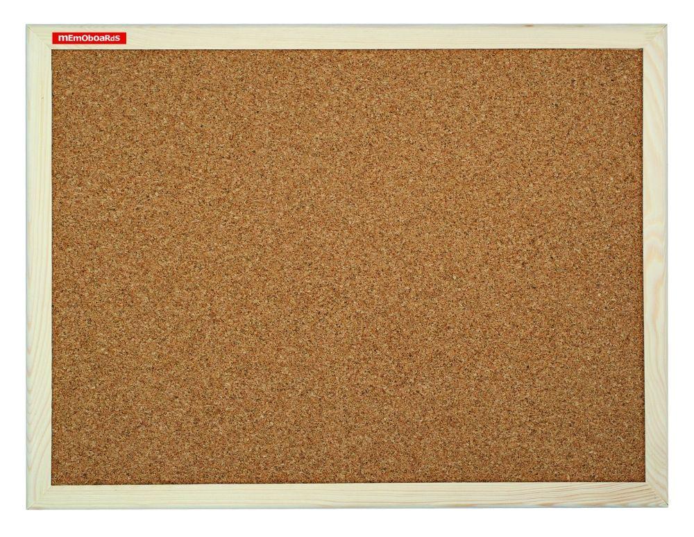 Korková tabule, 80x50 cm, dřevěný rám, Přírodní Memoboards