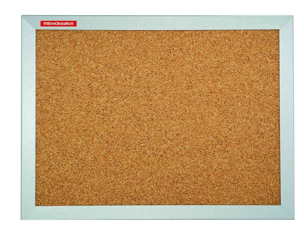 Korková tabule, 90x60 cm, MDF rám, stříbrný Memoboards