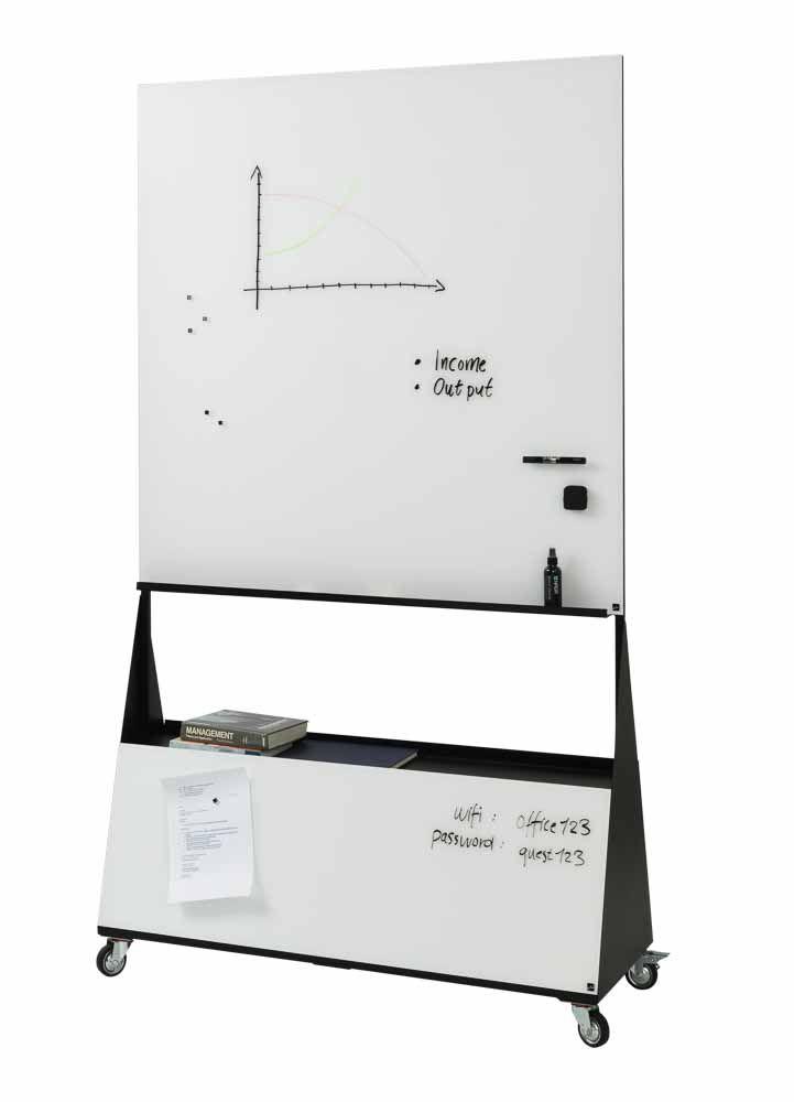 Mobilní skleněná magnetická tabule, 120x195 cm, Bílá