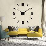 Nástěnné 3D hodiny, 90 cm - Černé