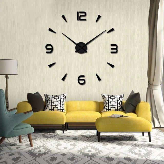 Nástěnné 3D analogové hodiny Brief Living, 120 cm - Černé