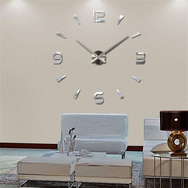 Nástěnné 3D analogové hodiny Brief Living, 120 cm - Chrom