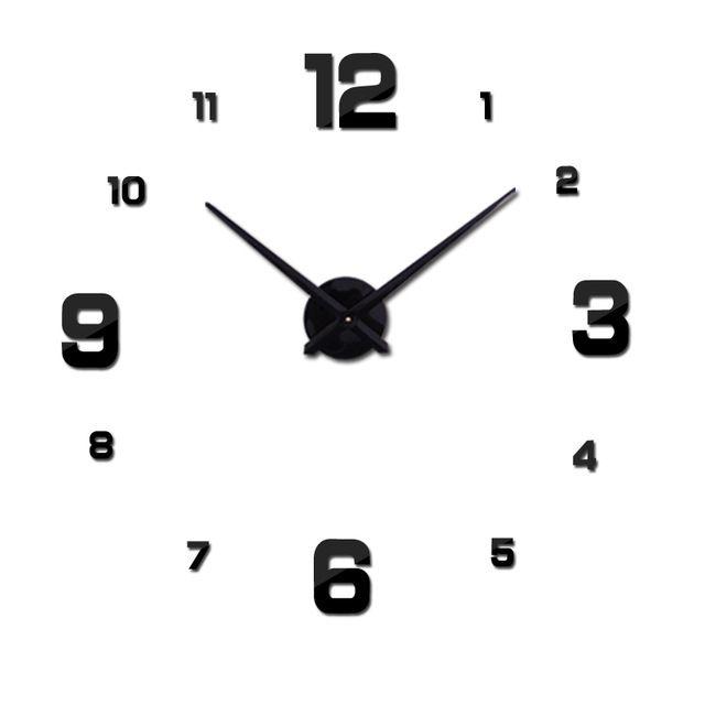 Nástěnné 3D analogové hodiny Fashion, 90 cm - Černé