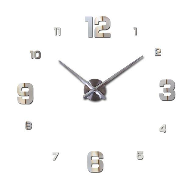 Nástěnné 3D analogové hodiny Fashion, 90 cm - Chrom