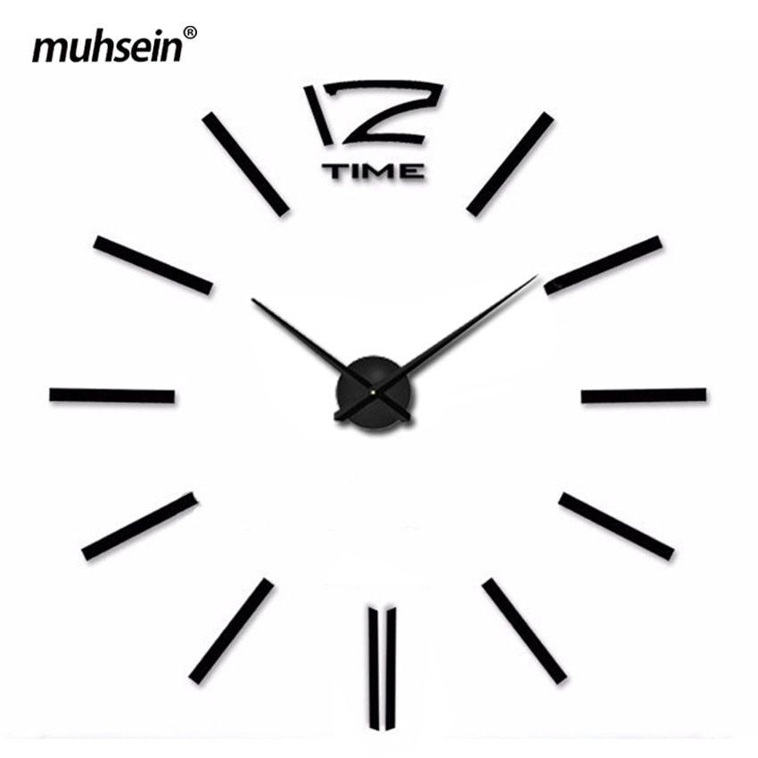 Nástěnné 3D analogové hodiny Metal Eva, 90 cm - Černé